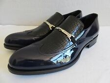 Giovanni Conti Loafer Shoes Black Croco Navy Patent Wing Tip Mens 11.5D EU 45