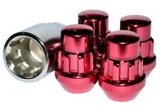 Capped Locking Wheel Nuts STEEL - RED - M12 x 1.5 Toyota Mitsubishi Honda