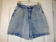 WOMENS VTG 60's-70's ACID WASH HIGH WAISTED PLEATED SHORTS SZ 9 (27X7.5)
