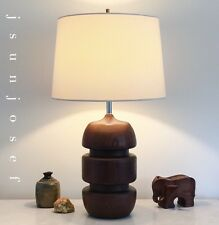 Shapely Sculptural Mid Century Danish Modern Lamp in Teak Laurel Martz Dansk Era