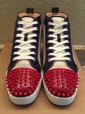 Men's Christian Louboutin CL Louis Flat Calf Spike Size 43 US 10 RED BLUE BROWN