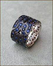 John Hardy Naga Silver Midnight Colorway Blue Sapphire Band, size 7, NEW, $1,895
