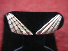 14K TRI-COLOR SEMI-FAN EARRINGS - ATTRACTIVE