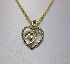 """14KT GOLD EP PERSONALIZED LETTER V HEART INITIAL WITH AN 18"""" ROPE CHAIN"""