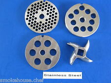 Size #8 COMBO set.  4 grinding plates discs for Electric or manual meat grinder