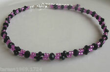 Hot pink and black glass beaded necklace choker bridal jewellery wedding prom