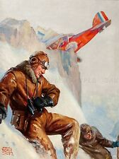 PAINTINGS PORTRAIT PILOTS CRASH PLANE SNOW CLIFF ART POSTER PRINT LV3387