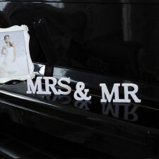 White Mr&Mrs Wooden Letters Wedding Sign for Table Romantic Marriage Decoration