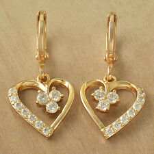 True Love Heart 9K Real Solid Gold Filled Crystal Womens Dangle Earrings Earings