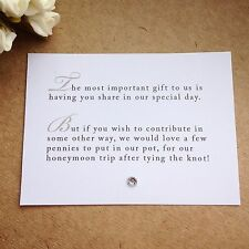 75 X Wedding Poem Cards For Invitations - Money Cash Gift Honeymoon