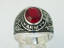 925 Silver United States Army Military January Red Garnet CZ Stone Men Ring 10