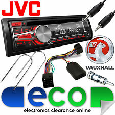 Vauxhall Combo B Van JVC RED Display Stereo CD MP3 USB AUX & Steering Wheel Kit