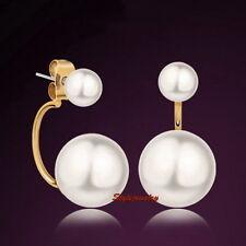 18k Rose Gold Filled Two Way Wear Bridal White Pearl Stud Dangle Earring IE21