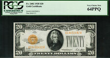1928 $20 Gold Certificate FR-2402 - Graded PCGS 64PPQ - Very Choice New