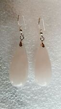STERLING Silver Rose Quartz Teardrop Dangle Earrings USA219