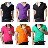 New Men's Casual Cotton Tip Collar Polo Shirt T-shirt Plain Short Sleeve Tee Top