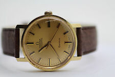 Vintage Omega Automatic Geneve Mens Watch 14K Caal 552 Leather 24j Serviced