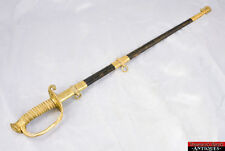 USN Navy Officer Sword Issue Handle Leather Scabbard Gilt Brass 1852 Vintage L1Z