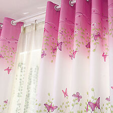 EYELET CURTAINS FLOWER BUTTERFLY PINK KID BABY BEDROOM CURTAIN NEW
