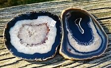"2 Brazilian Agate Geode DRUZY quartz crystal Slab/Slice Natural  3.5""-3.75"""
