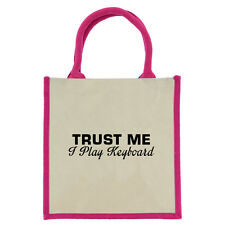 Trust Me I Play Keyboard Pink Handled Midi Jute Bag shopping tote eco synth NEW