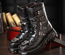 Punk Men's Military Combat Leather Lace Up Platform Gothic Outdoor Boots US 10