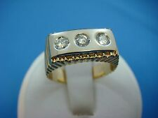 14K TWO TONE MEN'S PINKY DIAMOND RING 5.9 GRAMS, 0.40 CT T.W., SIZE 7.75.