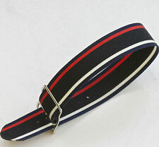 Vintage NOS watch 17.3mm nylon band 1960s black/white/red/blue w/ silver buckle