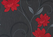 Belgravia - Moda - Black Label - Angelica Wallpaper - Black & Red 1201