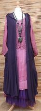 LAGENLOOK BEAUTIFUL 3 PCS DRESS+CARDIGAN+PETTICOAT*PURPLE/MAROON*BUST UP TO 46""
