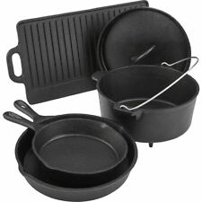 Cast Iron Dutch Oven Skillet Cookware Griddle Pot Lid 5 Pc Pre Seasoned Camping