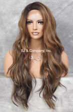 "Heat Safe long Wavy Layered LACE FRONT WIG Brown Auburn Blonede 24"" AUR SOM7002"