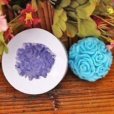 3D Rose Flower Ball Silicone Candle Mold Soap Cake Clay Fondant Sugarcraft Mould