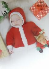 "King Cole Christmas DK Knitting pattern Baby Santa jackets and hat 12-22""  3803"