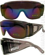 Will Fit Over Most Rx Glasses Sunglasses Blue Mirror Lens 83BLM