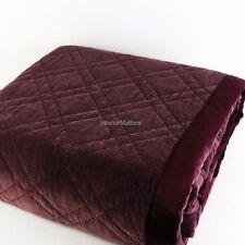 Tahari Cotton Velvet 3PC QUEEN QUILT SHAM SET Burgundy Plum solid color NEW