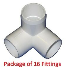 "1"" Furniture Grade 3-Way Corner Elbow PVC Fitting - 16 Pack"