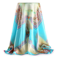 "35""  Large Square 100% mulberry Silk satin Scarf Women Shawl Wrap blue S114-008"