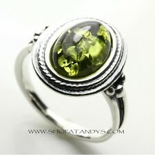 GENUINE BALTIC AMBER 925 STERLING SILVER RING SIZE 9
