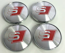 4x ALLOY WHEEL BADGE CENTRE CAPS Audi S Line 60mm A3 A4 A5 A6 A7 A8 S3 S4 S5 S6