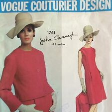 1960s Cavanagh Vogue Couturier Design Pattern Dress & Jacket Cut Sz 16 Bust 36""