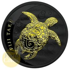 2011 1 oz Silver Fiji Taku Turtle Black Ruthenium 24k Gold Gilded Coin BOX & COA