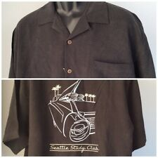 EAGLE DRY GOODS Men's Silk Camp Shirt Sz Large Black Embroidery Seattle Car