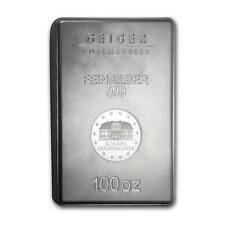 One piece 100 oz 0.999 Fine Silver Bar Geiger Security Line Series Lot 8634