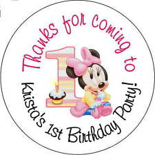 12 Baby Minnie Mouse Girls  stickers Birthday Party 2.5 Inch Personalized 1st