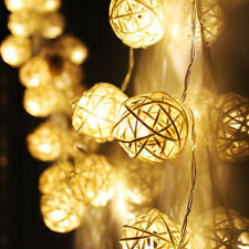20x Rattan Ball LED String Light Fairy Lamp Battery Powered Wedding Party Xmas