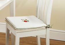"""4 X APPLE & PEARS GREEN RED GINGHAM KITCHEN CUSHION SEAT PAD 16"""" X 16"""""""
