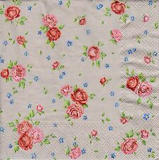 4 x Single PAPER NAPKINS Rosalie Roses Taupe Background Floral DECOUPAGE SET