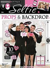 WEDDING PHOTO BOOTH PROPS & BACKDROP SET FANCY DRESS PARTY