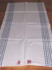 Altes Leinen Handtuch Küchentuch Weiß mit Blau Webmuster Borten Initialen